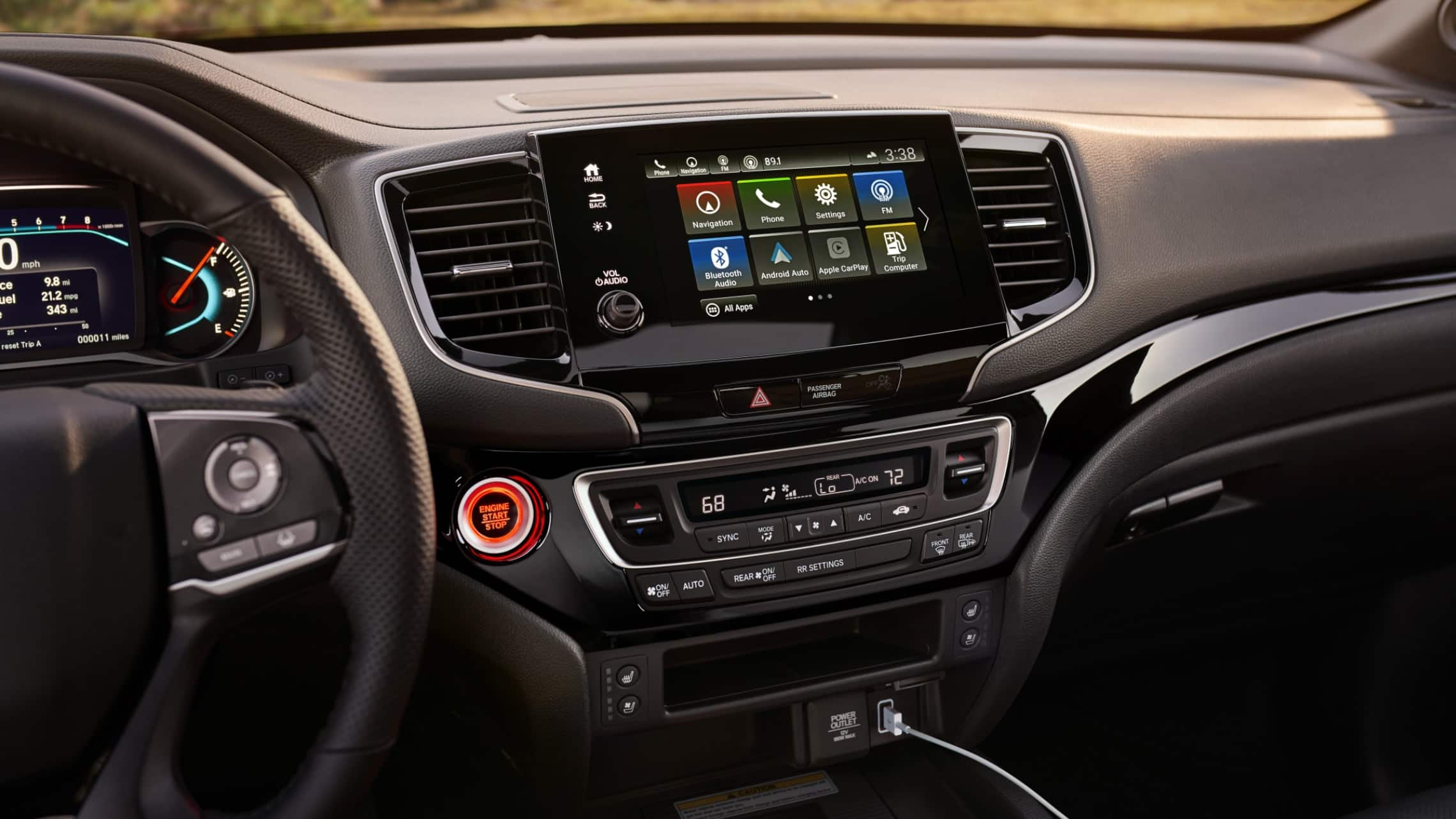 Display Audio touch-screen in the 2020 Honda Passport Elite. Plays animation.