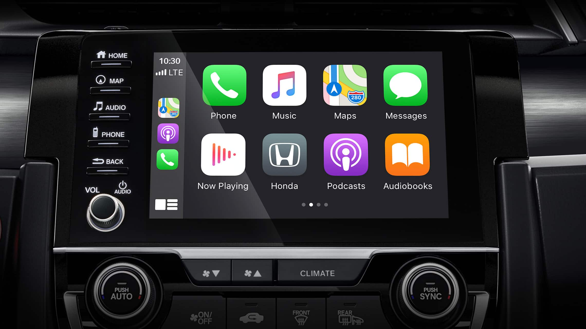 Apple CarPlay® screen detail on Display Audio touch-screen in the 2021 Honda Civic Sport Touring Hatchback.