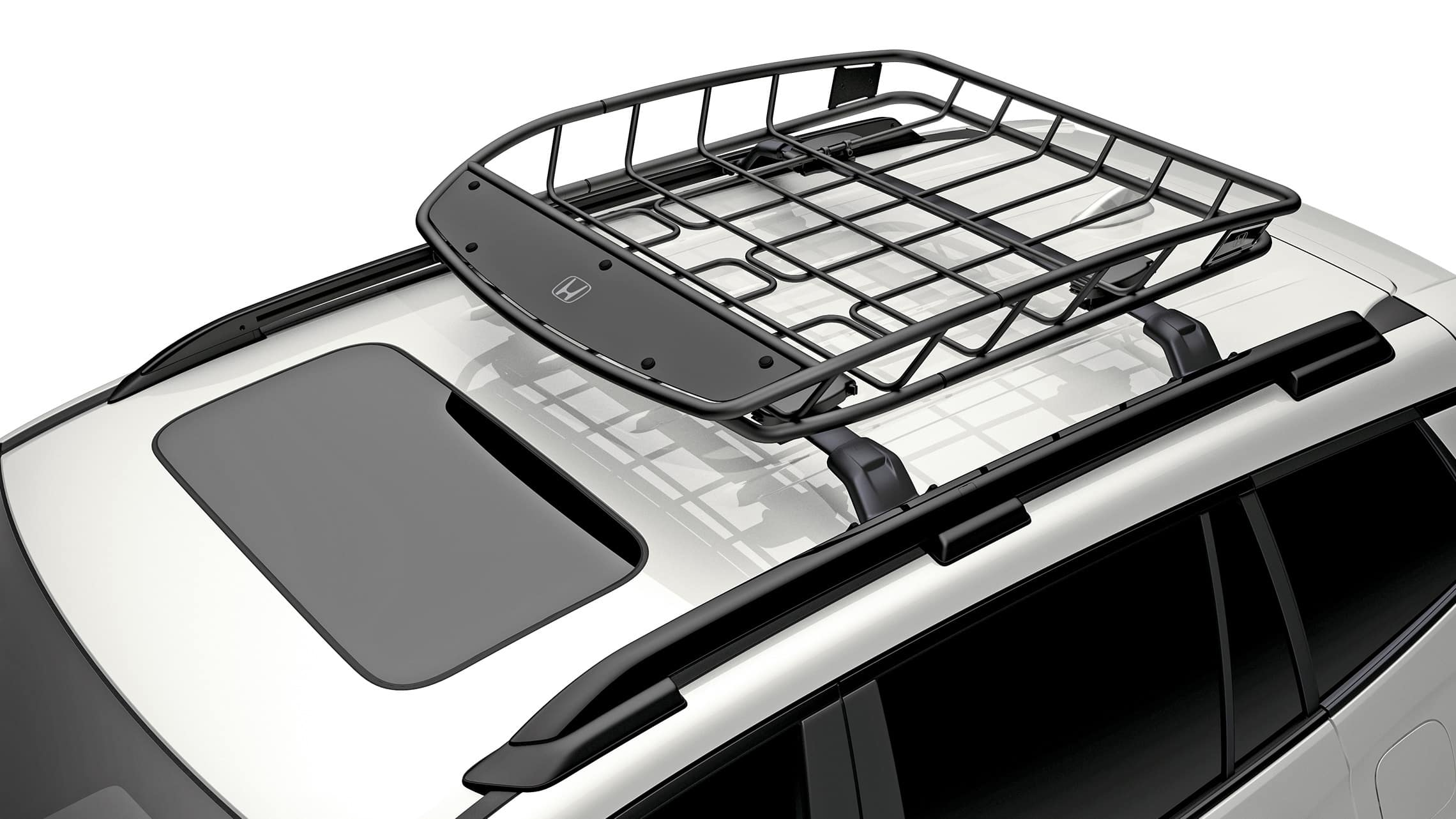 Detail of accessory roof basket on the 2021 Honda Passport.