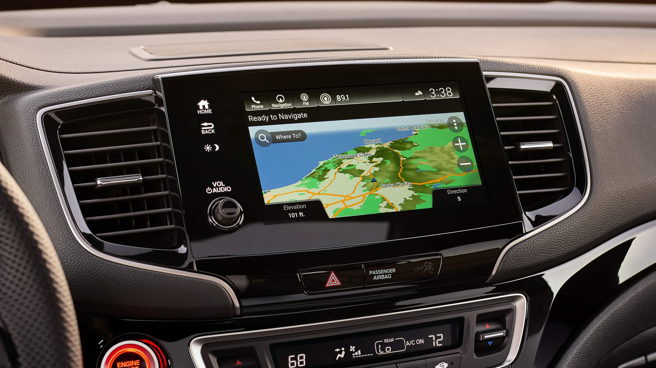 Detail view of the Honda Satellite-Linked Navigation System™ on the Display Audio touch-screen in the 2021 Honda Passport.